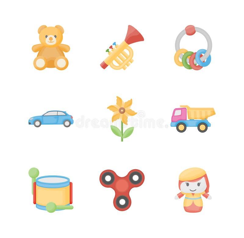 Juguetes para los iconos planos de los niños stock de ilustración