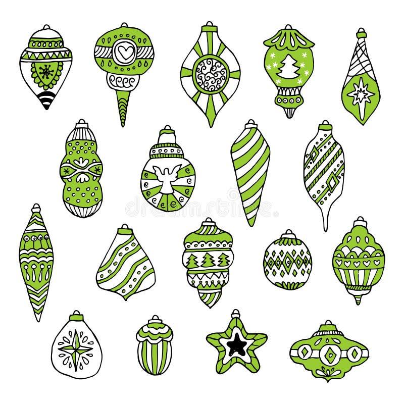 Juguetes y bolas del árbol de navidad dibujados a mano para los ejemplos del invierno y del día de fiesta stock de ilustración