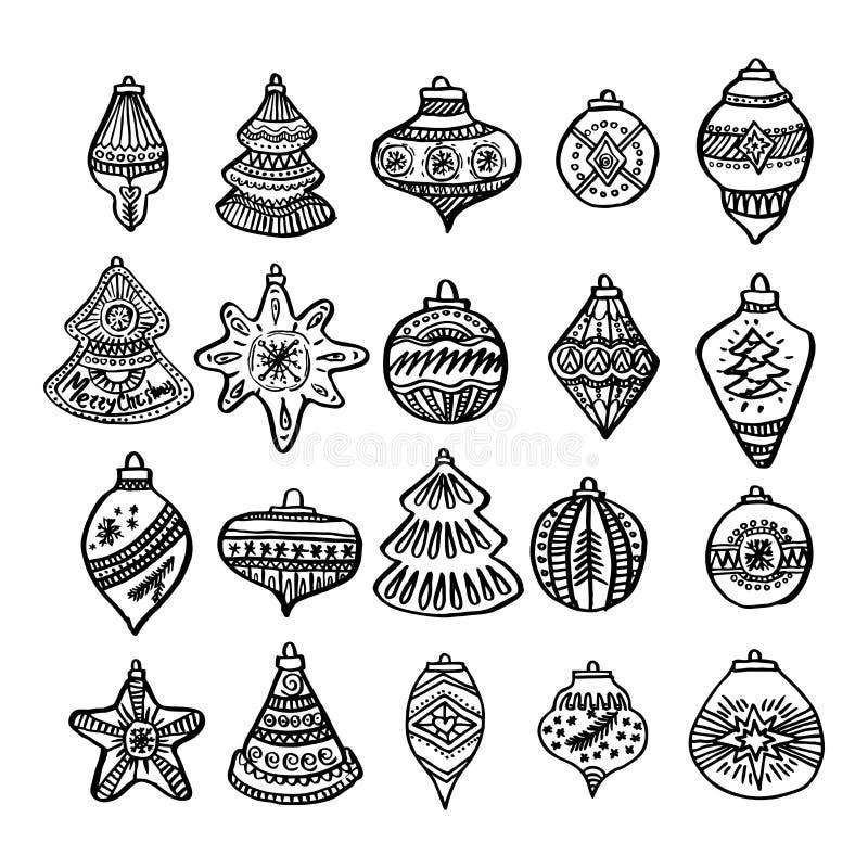 Juguetes y bolas del árbol de navidad dibujados a mano para los ejemplos del invierno y del día de fiesta ilustración del vector