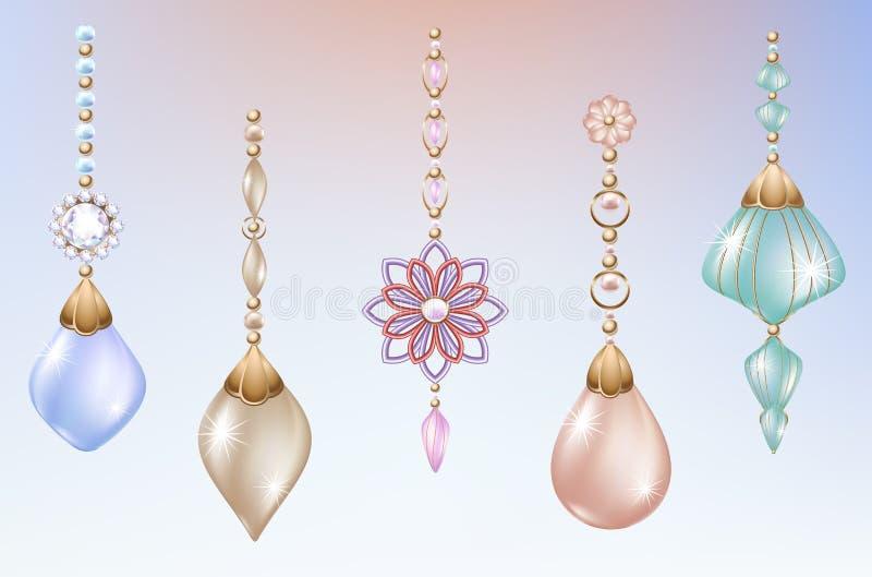 Juguetes y decoraciones de la Navidad con joyería festiva de las perlas con los diamantes ilustración del vector