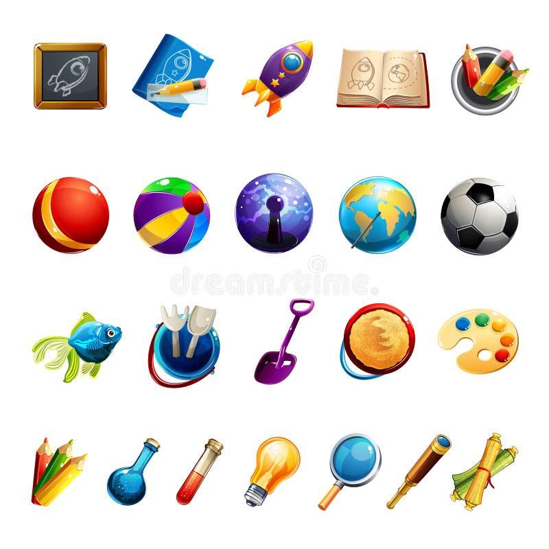 Juguetes y objetos de los niños stock de ilustración