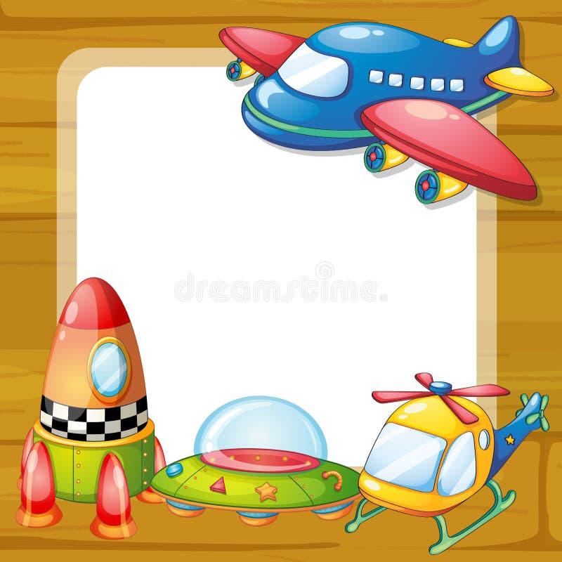 Juguetes y tablero ilustración del vector