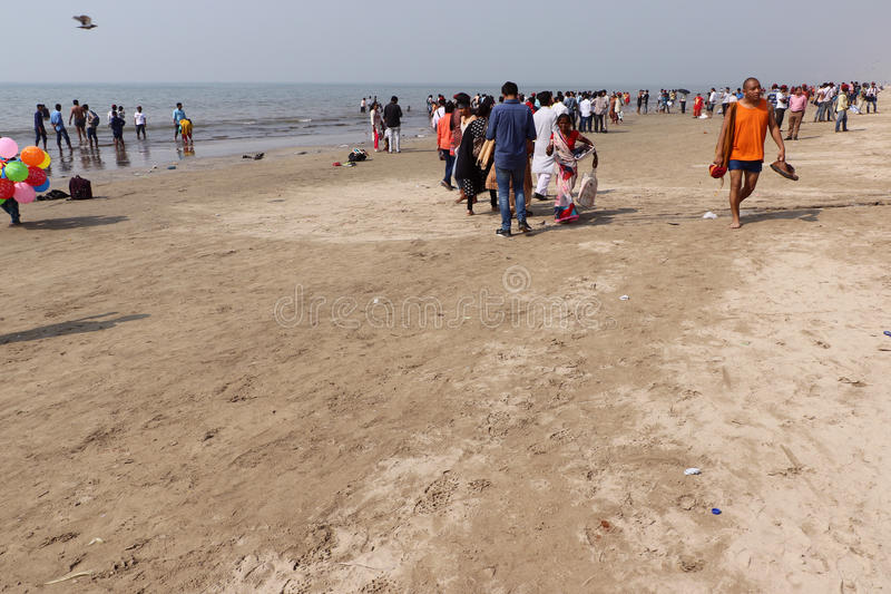 Juhu Beach, Mumbai. Indian crowd & tourist enjoying on popular Juhu Beach in Mumbai is one of the most famous Indian beaches. Juhu Beach is also famous for its royalty free stock images