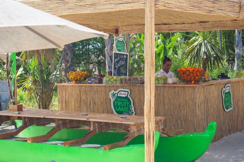 Juice Bar con las frutas y verduras frescas clasificadas fotografía de archivo libre de regalías