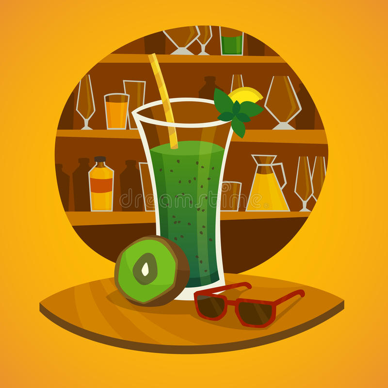 Juice Bar Concept. With glass of kiwi fresh juice and sunglasses on table in foreground vector illustration stock illustration
