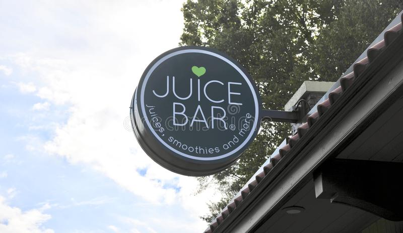 Juice Bar Sign Memphis, TN. Juice Bar is overwhelmingly vegetarian, gluten-free, organic when possible, and always uses 100% whole fruits and vegetables. Simply stock photography