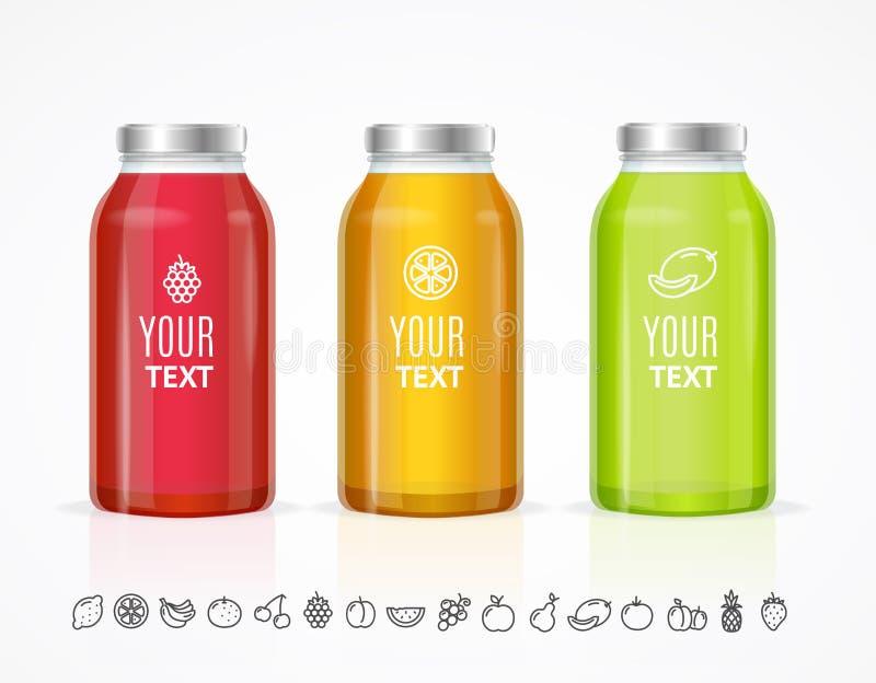Juice Bottle Jar Template Set colorido Vetor ilustração royalty free