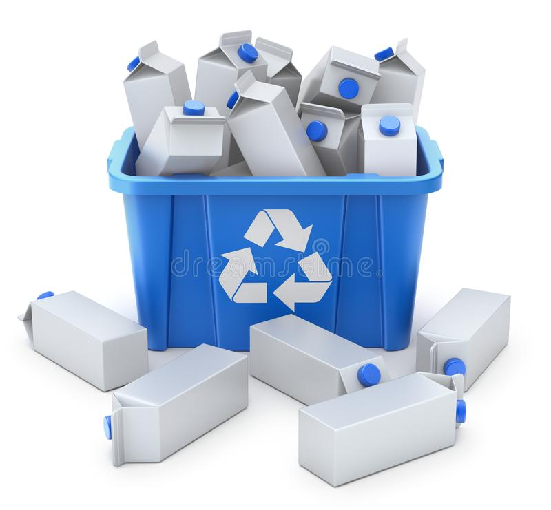 Juice carton boxes in blue recycle crate stock illustration
