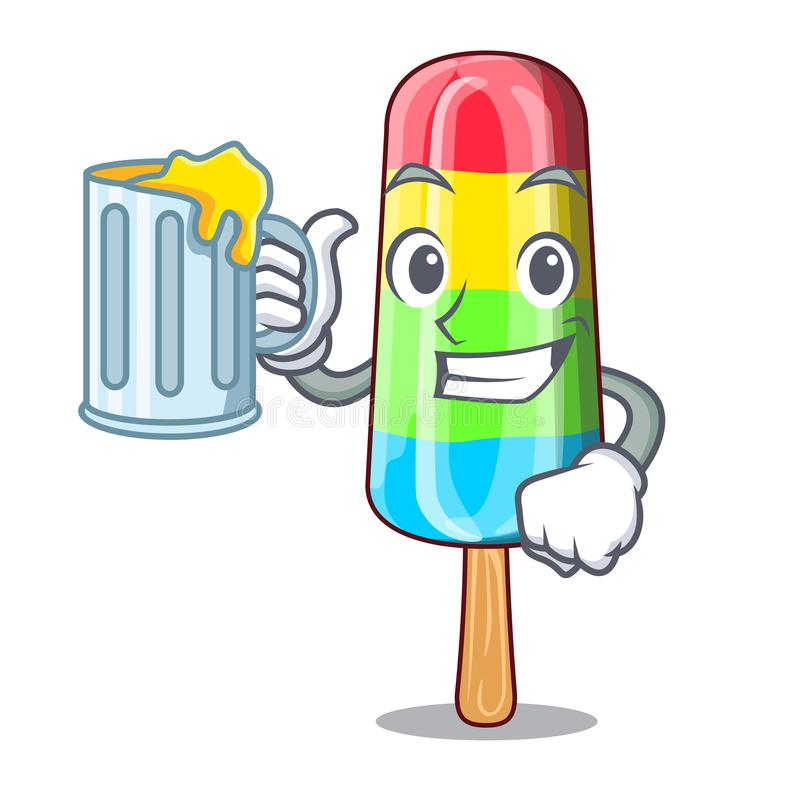 With juice cartoon colorful ice cream for drink vector illustration