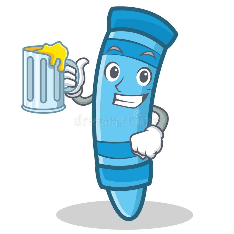 With juice crayon character cartoon style vector illustration