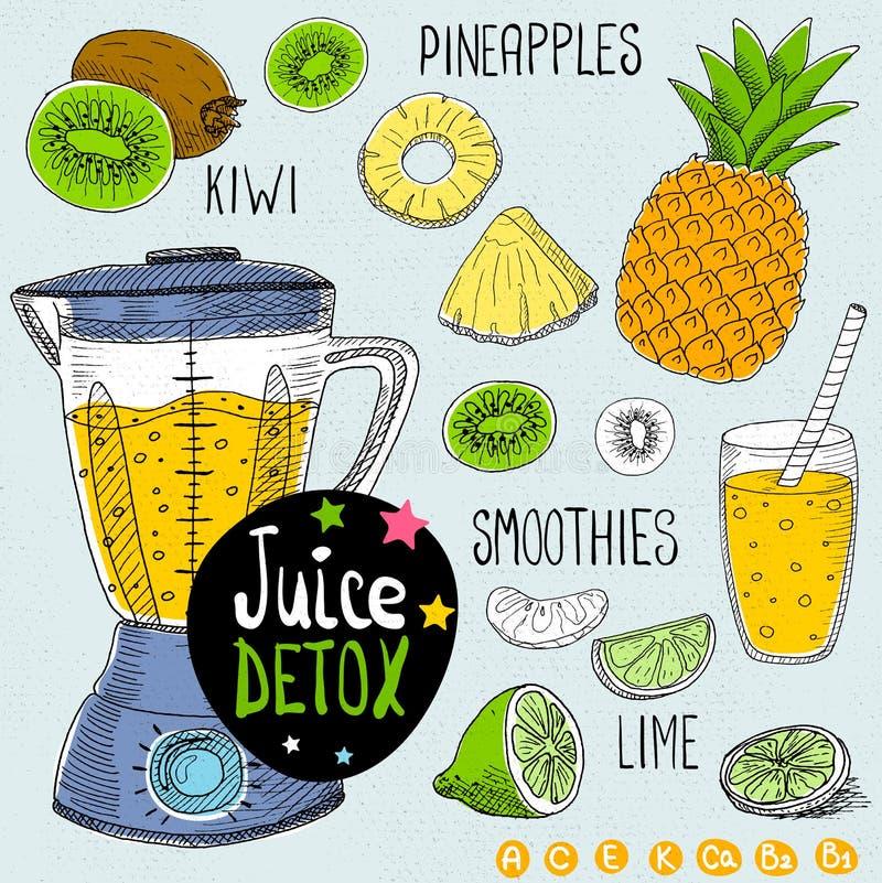 Juice detox set. Sketch Juice detox set. With illustration of ingredients, glass, stars, blender and vitamin Hand drawn doodle style. Smoothies, kiwi, lime royalty free illustration