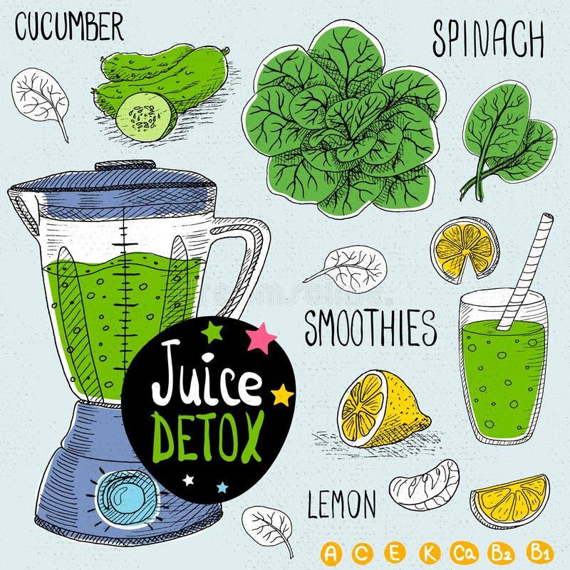 Juice detox set. Sketch Juice detox set. With illustration of ingredients, glass, stars, blender and vitamin Hand drawn doodle style. Smoothies, spinach, lemon stock illustration