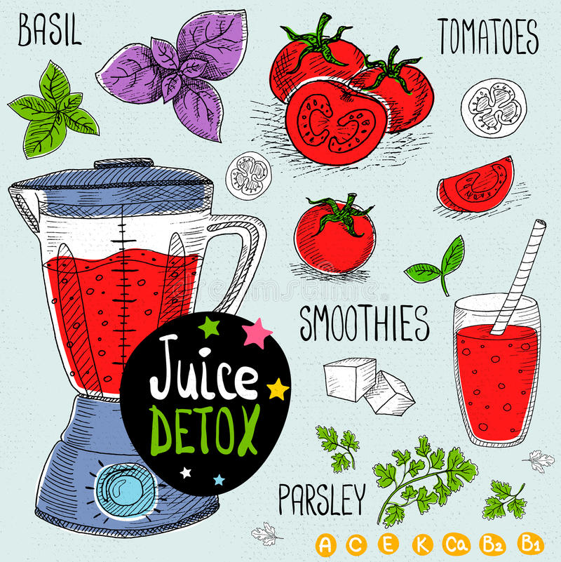 Juice detox set. Sketch Juice detox set. With illustration of ingredients, glass, stars, blender and vitamin Hand drawn doodle style. Smoothies, tomatoes, basil vector illustration