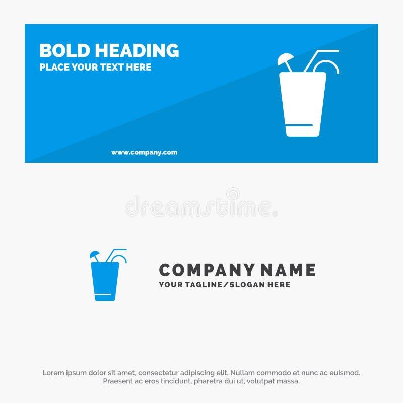 Juice, Drink, Food, Spring SOlid Icon Website Banner и Business Logo Template иллюстрация вектора