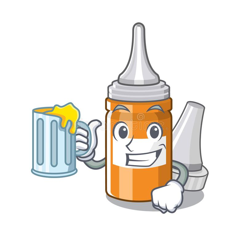 With juice ear drops in the mascot pillbox. Vector illustration royalty free illustration