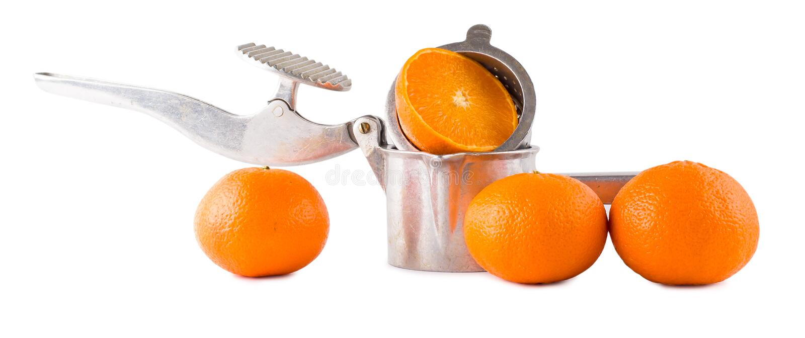 Juice extractor manual and oranges stock photography
