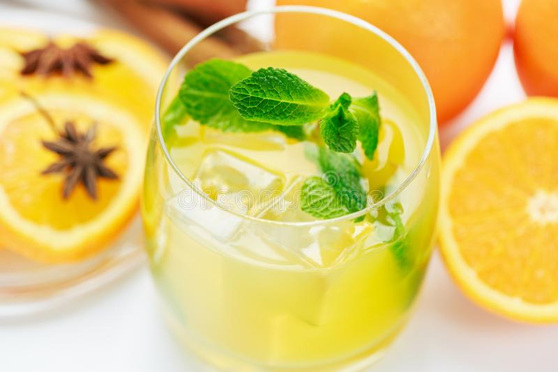 Juice from fresh oranges stock images