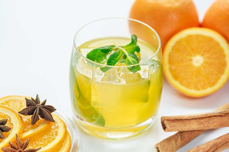 Juice from fresh oranges and spices royalty free stock photos