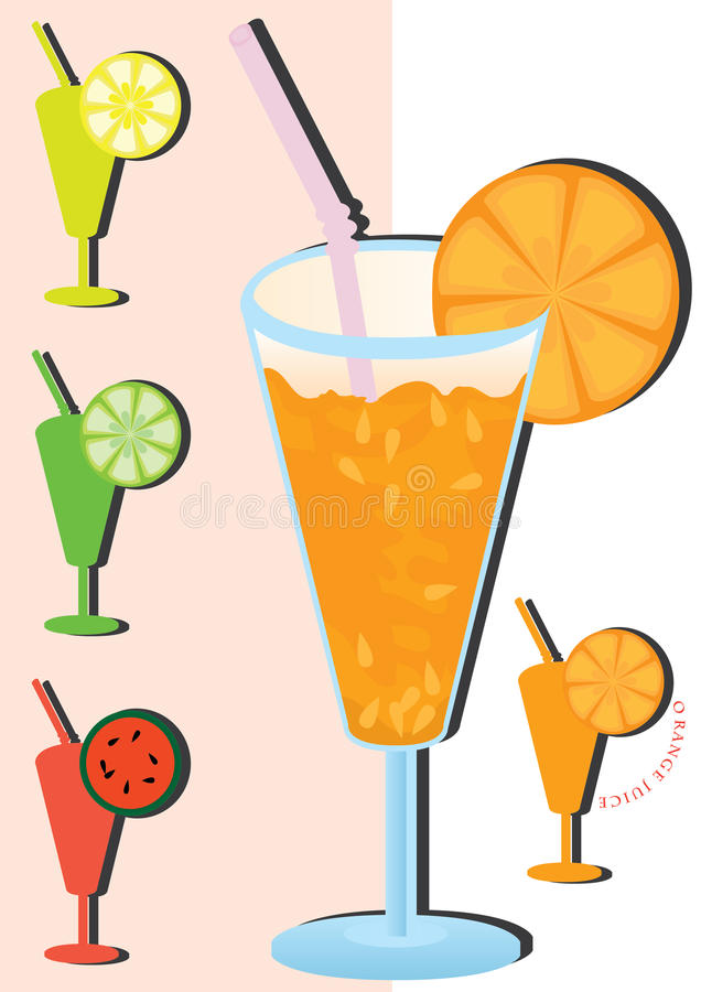 Juice Fruit_eps. Illustration of orange juice and silhouette symbol include Lemon, lime, watermelon and orange. --- This .eps file info Document: A4 Paper Size stock illustration