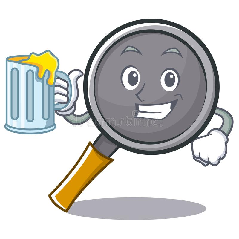 With juice frying pan cartoon character. Vector illustration stock illustration
