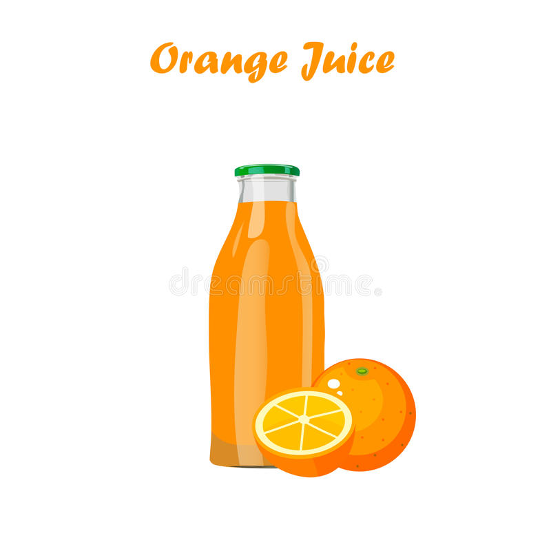 Juice in glass bottle. Very high quality original trendy vector illustration of orange juice in glass bottle royalty free illustration