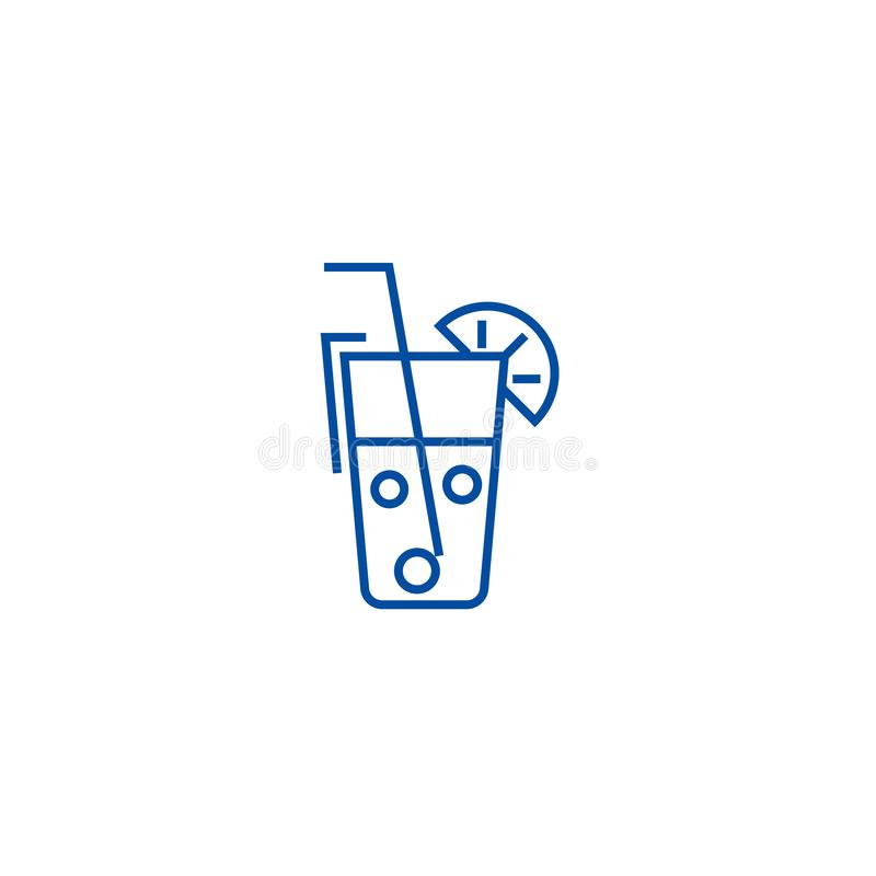 Juice glass,drinks line icon concept. Juice glass,drinks flat  vector symbol, sign, outline illustration. royalty free illustration