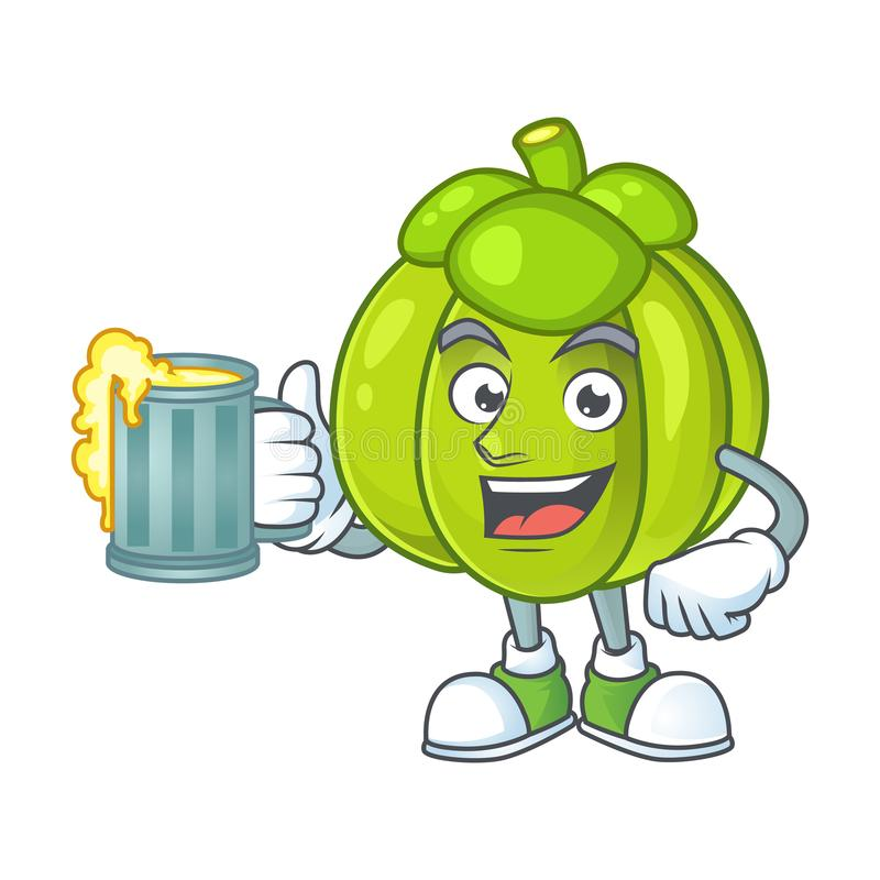 With juice green pumpkin ripe on a white background. Vector illustration stock illustration