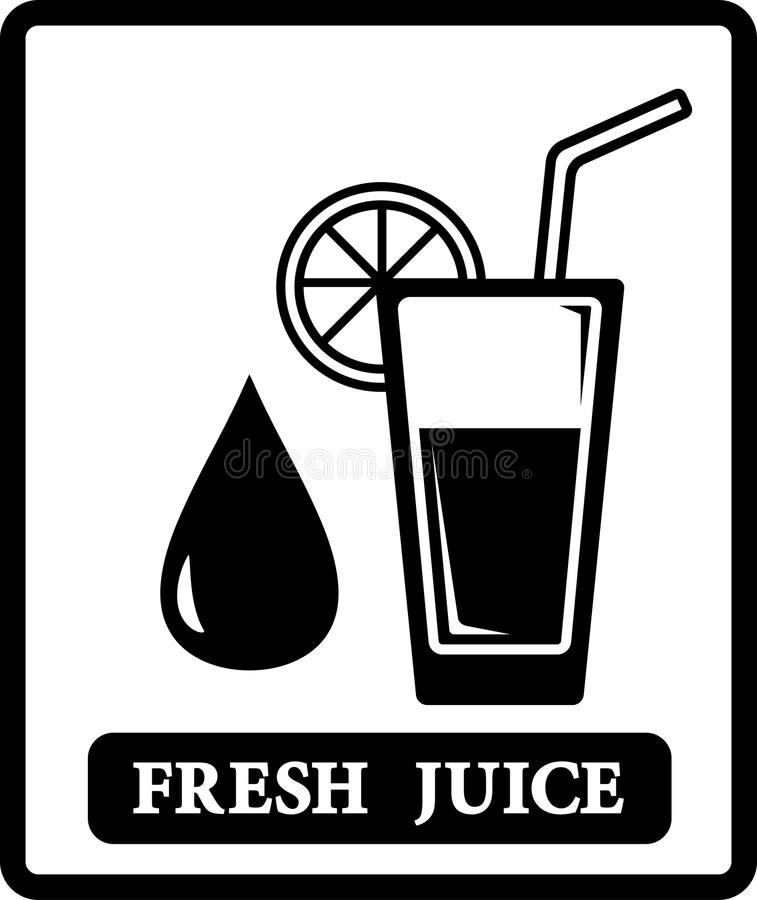 Juice icon with drop and glass stock illustration