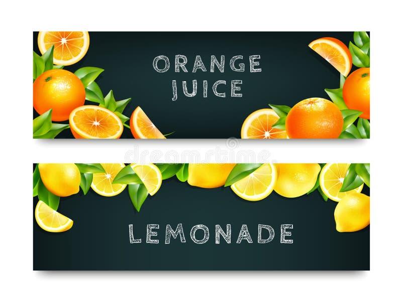 Juice Lemonade anaranjado 2 banderas fijadas libre illustration