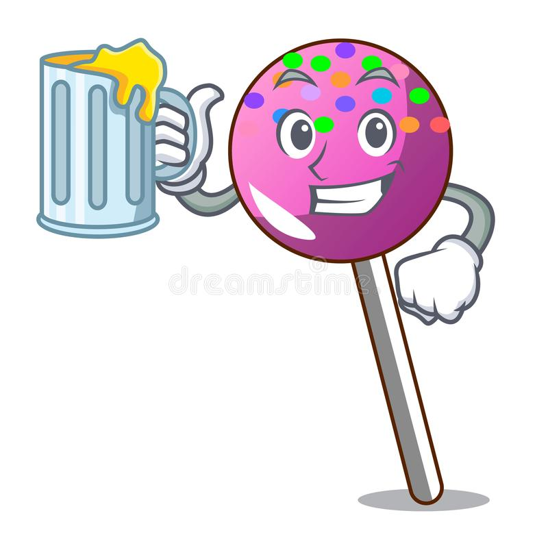 With juice lollipop with sprinkles mascot cartoon vector illustration