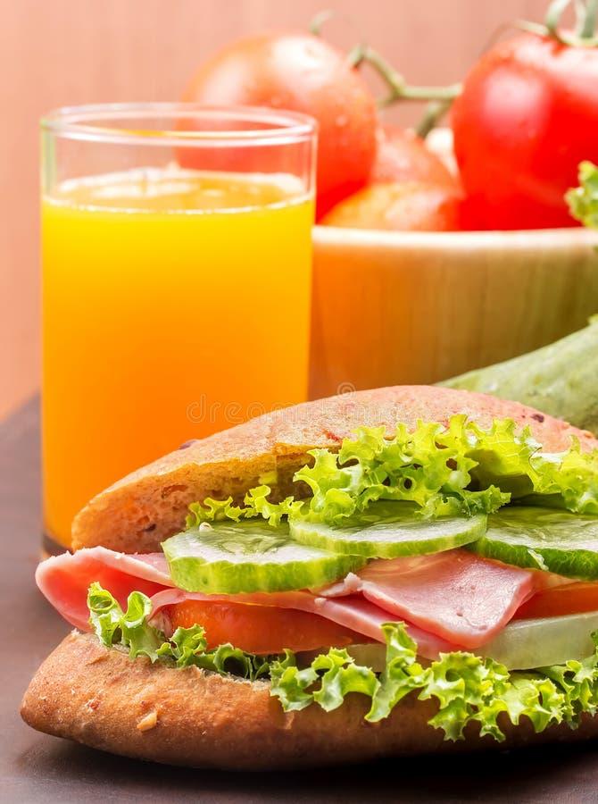 Juice And Sandwich Indicates Orange Drink And Beverage stock photo