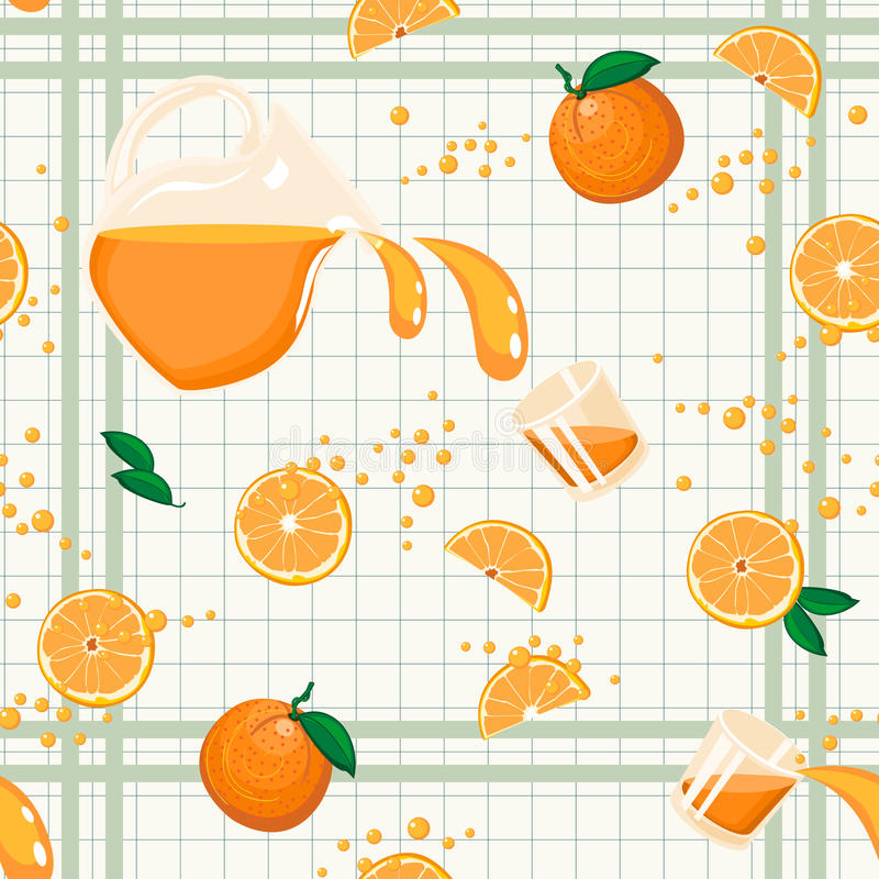 Juice Seamless Pattern anaranjado stock de ilustración