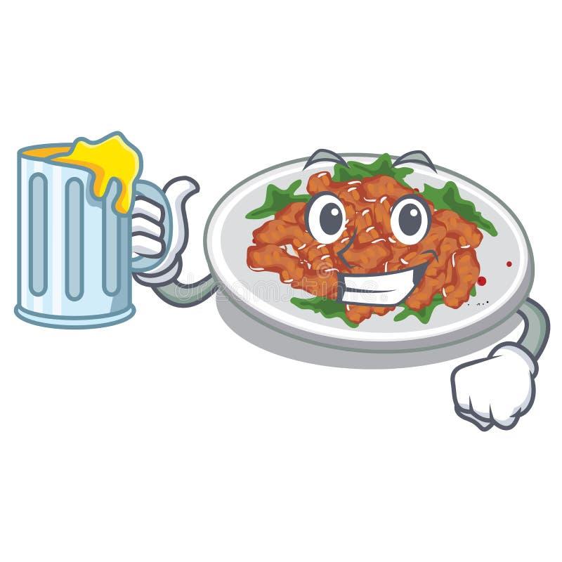 With juice sesame chicken in a cartoon bowl. Vector illustration vector illustration