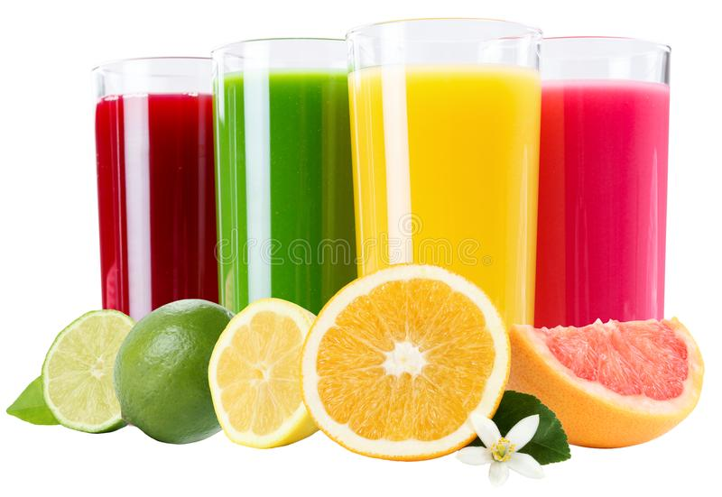 Juice smoothie orange fruit fruits smoothies in glass isolated o. N a white background stock photo