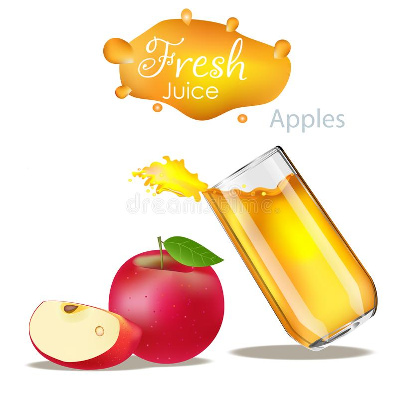 Juice splash with apple isolated on white. Vector image stock illustration