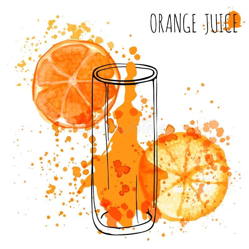 Juice Splash orange, illustration d'aquarelle d'aspiration de main de vecteur Le jus d'orange en verre esquissé avec éclabousse illustration libre de droits