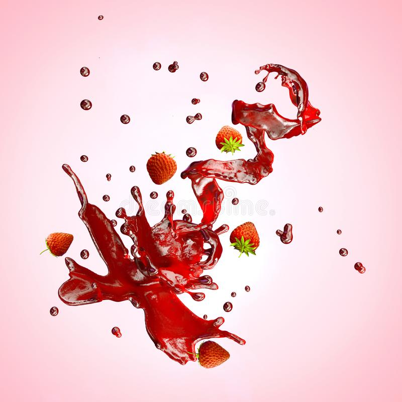 Juice splashes with strawberries, droplets isolated. 3D illustration. Juice splash spiral jet with crown, strawberries and droplets, in the form of flower stock illustration