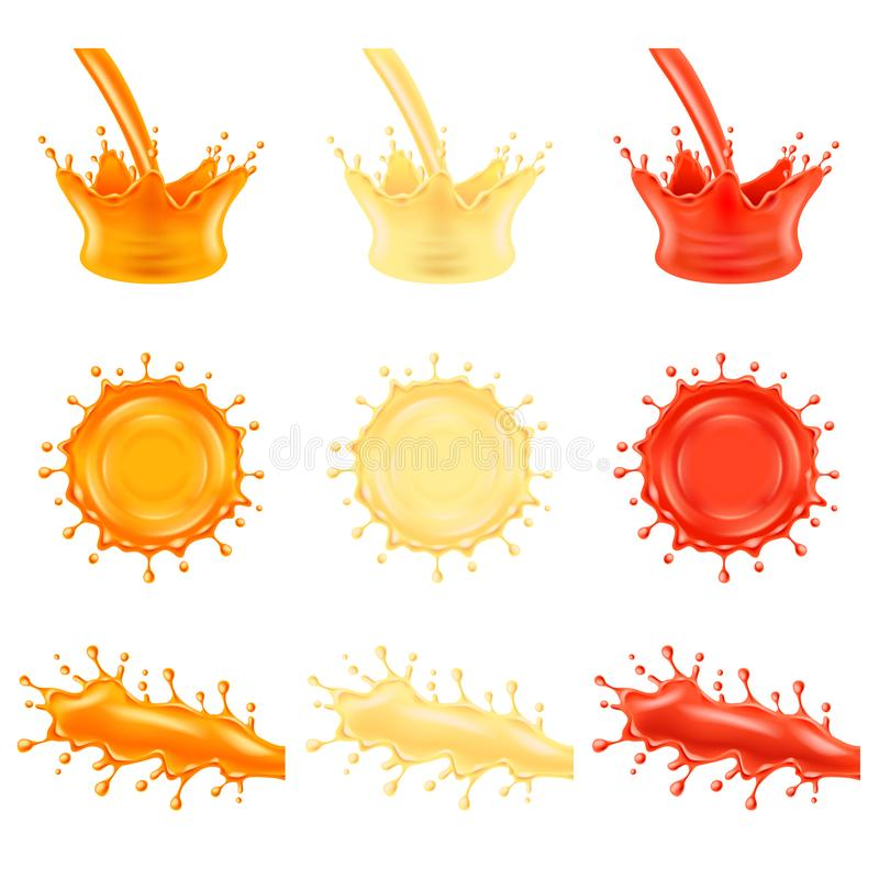 Juice splashes 3d photo realistic vector set. Juice splashes orange pineapple and tomato 3d photo realistic vector set stock illustration