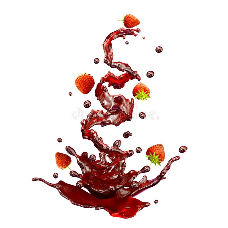 Juice splashes with strawberries, droplets isolated. 3D illustration. Juice splash spiral jet with crown, strawberries and droplets, in the form of flower vector illustration