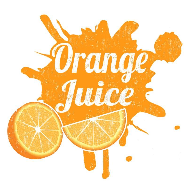 Juice Stamp anaranjado stock de ilustración