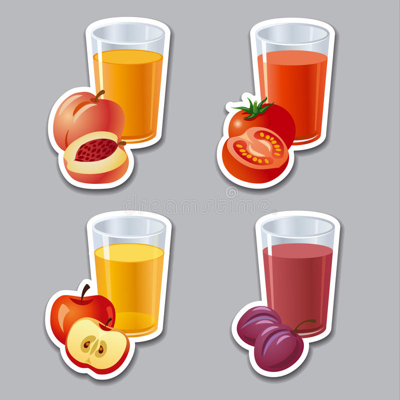 Juice stickers royalty free illustration