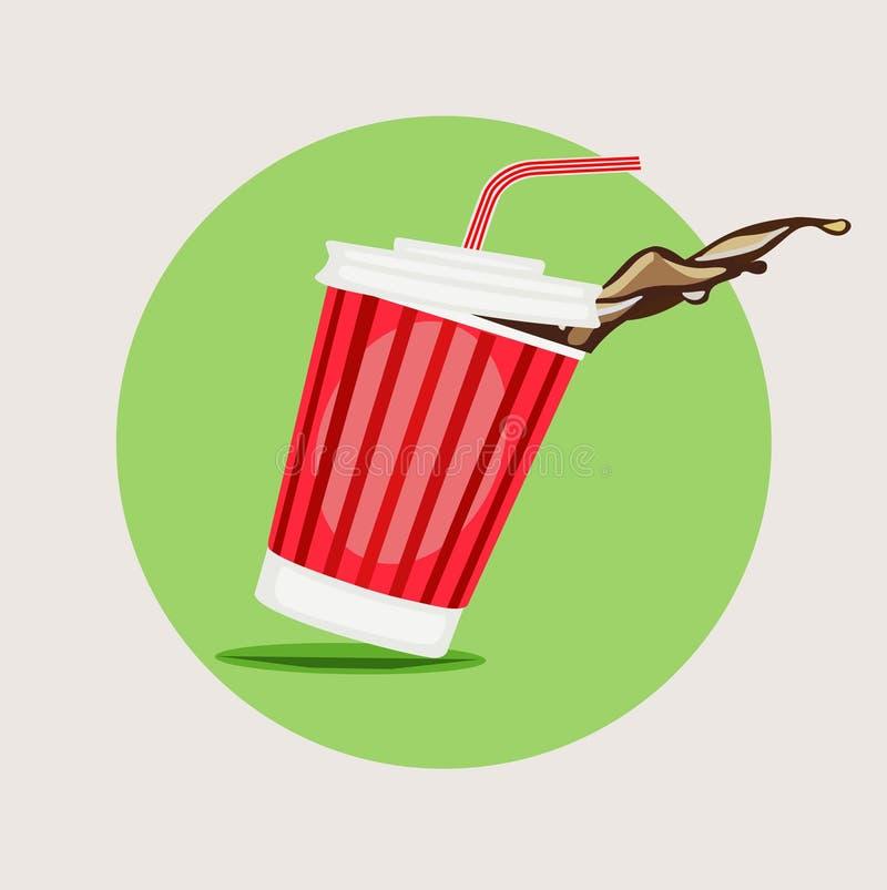 Juice take away glass flat design vector royalty free illustration