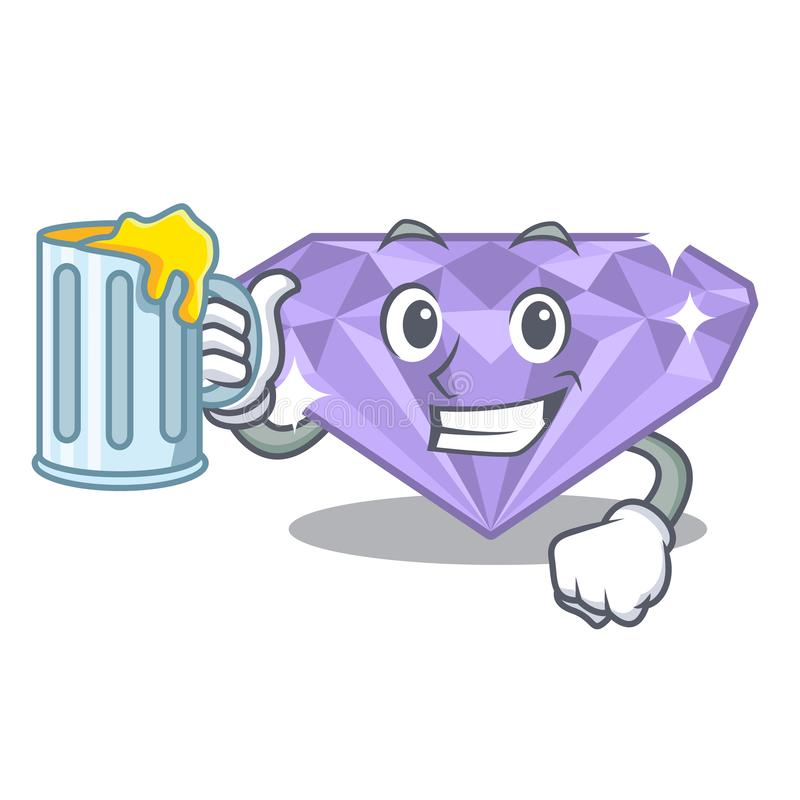 With juice violet diamond in a cartoon bag vector illustration