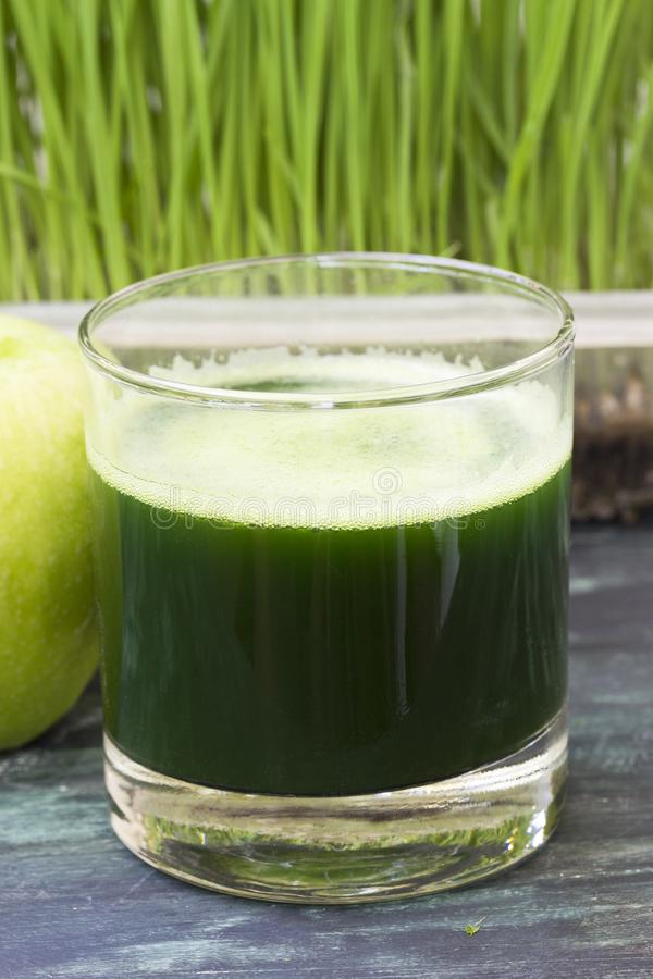 Juice from wheat grass and green apple. Glass of freshly squeezed juice from wheat grass and green apple royalty free stock photography