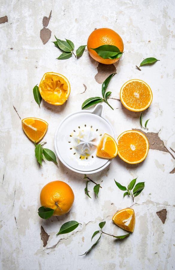Juicer with fresh oranges. The fresh orange juice. royalty free stock photography