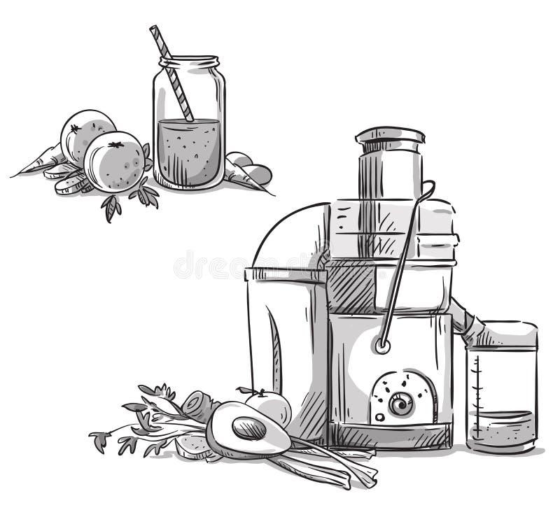 juicer juicing μηχανή σιτηρέσιο υγιεινό ελεύθερη απεικόνιση δικαιώματος