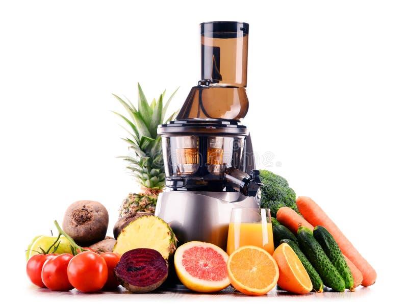 Juicer lento com as frutas e legumes orgânicas isoladas no branco imagens de stock royalty free