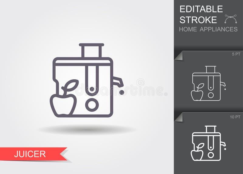 juicer Lijnpictogram met editable slag met schaduw vector illustratie