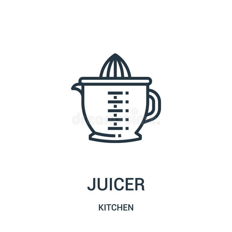 juicer pictogramvector van keukeninzameling De dunne lijn juicer schetst pictogram vectorillustratie vector illustratie