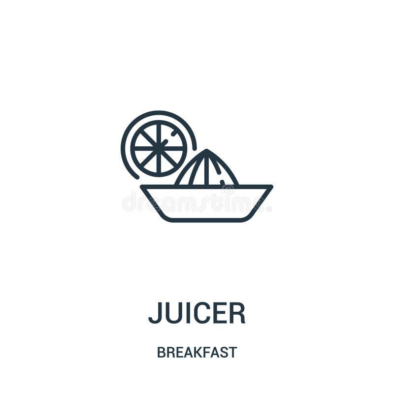 juicer pictogramvector van ontbijtinzameling De dunne lijn juicer schetst pictogram vectorillustratie Lineair symbool voor gebrui royalty-vrije illustratie